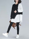 Loose Contrast Color Cropped Sweatshirt