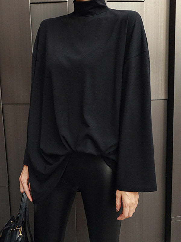 Loose Black High-Neck Long Sleeves T-Shirt