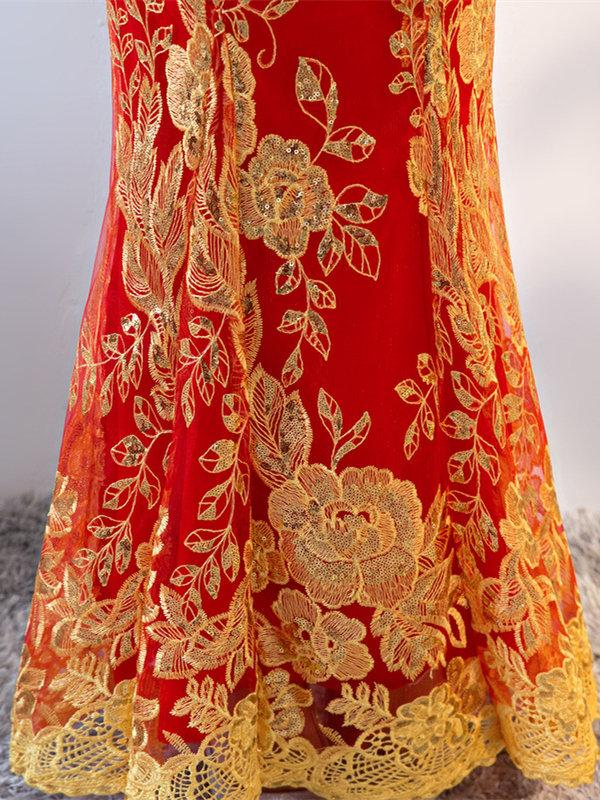 Red Lace Embroidered Mermaid Cheongsam Evening Dress