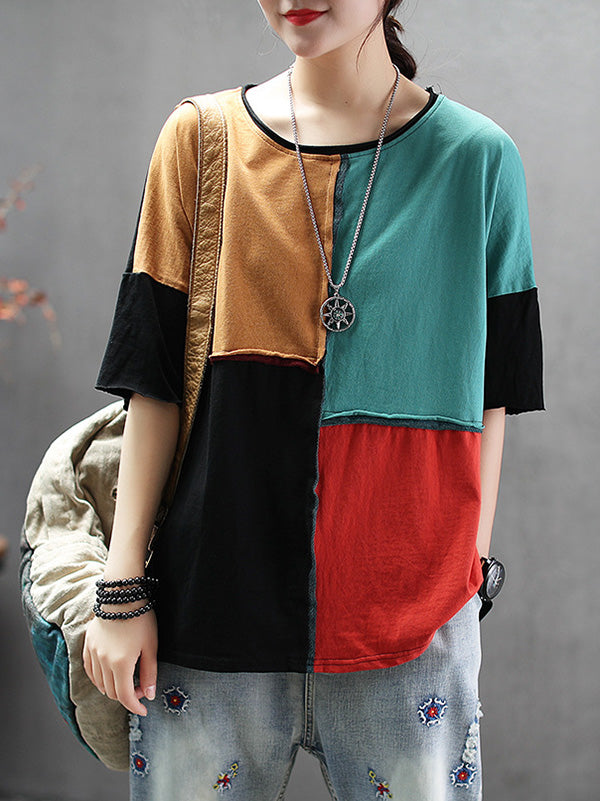 Colorful Split-joint T-shirt
