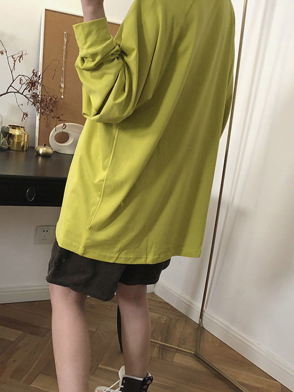 Loose Solid Oversize Shirt Top