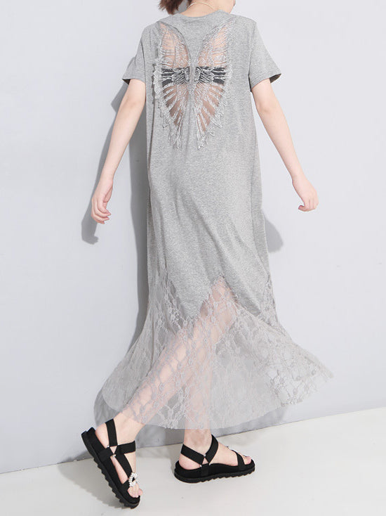 Lacy Angel's Wing Back Design Hollow Maxi Dress