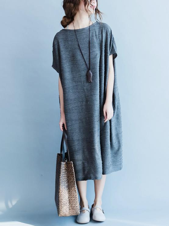 Gray Round-neck Cotton Blend Free Size Long Dress