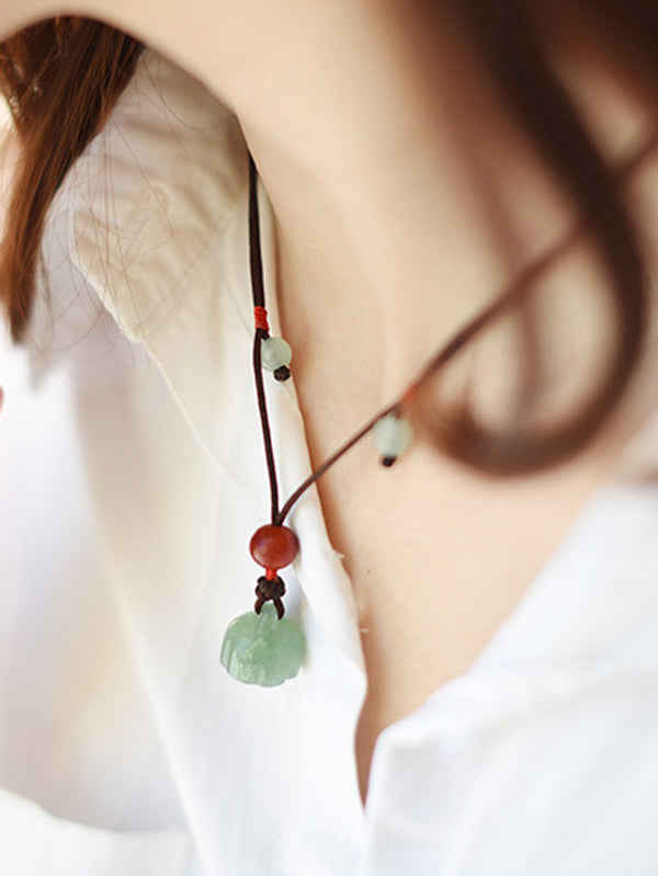 Ethnic Vintage Jade Pendant Necklace