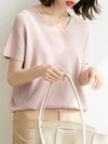 Loose Ice Silk V-Neck Knit T-Shirt