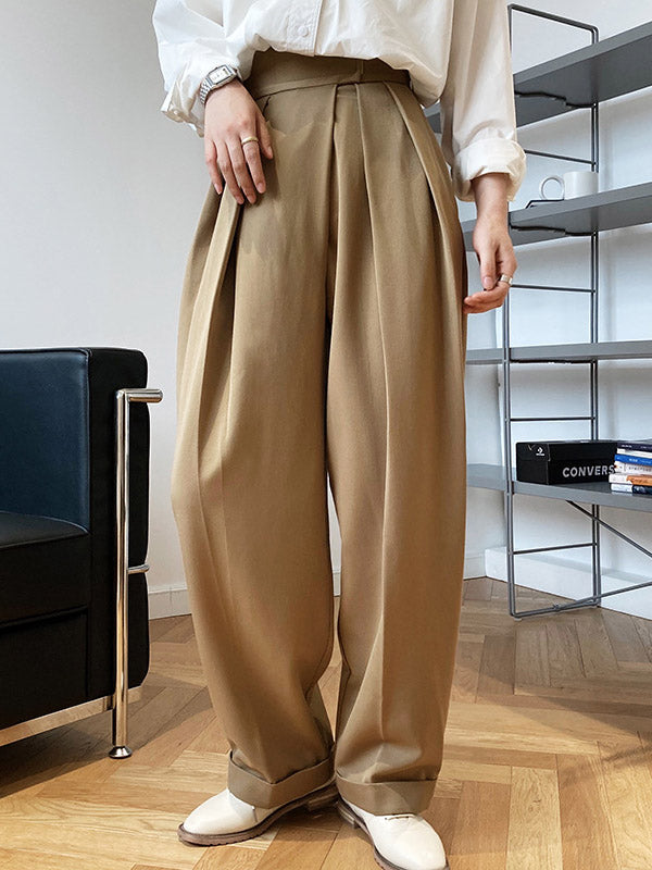 Loose Wide-Leg Velcro Suit Pants