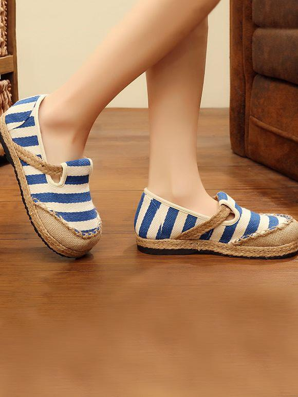National Style Colorful Stripe Printed Cotton Shoes