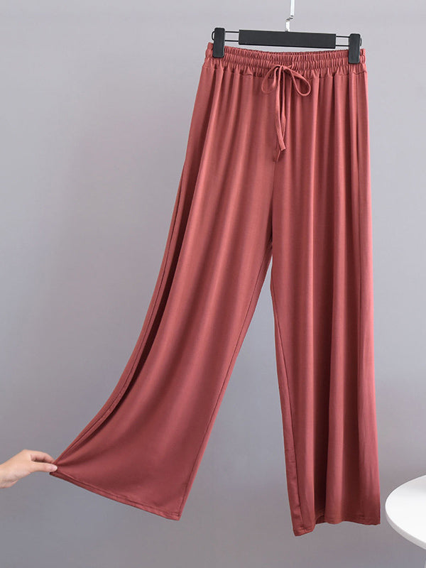 Comfortable Drawstring Solid Color Loose Pants