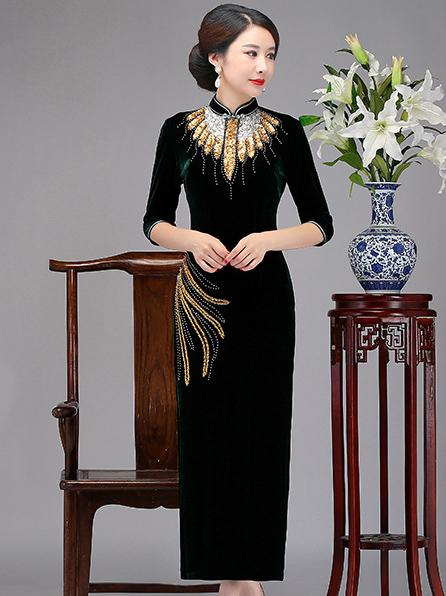 Elegant Paillette Cheongsam Dress