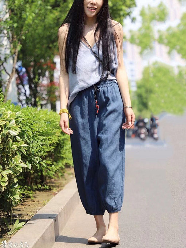 Casual Linen Solid Cropped Bloomers
