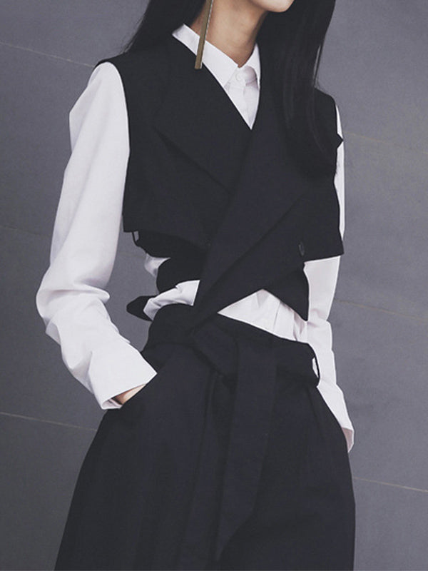 Black Sleeveless Suit Collar Vest