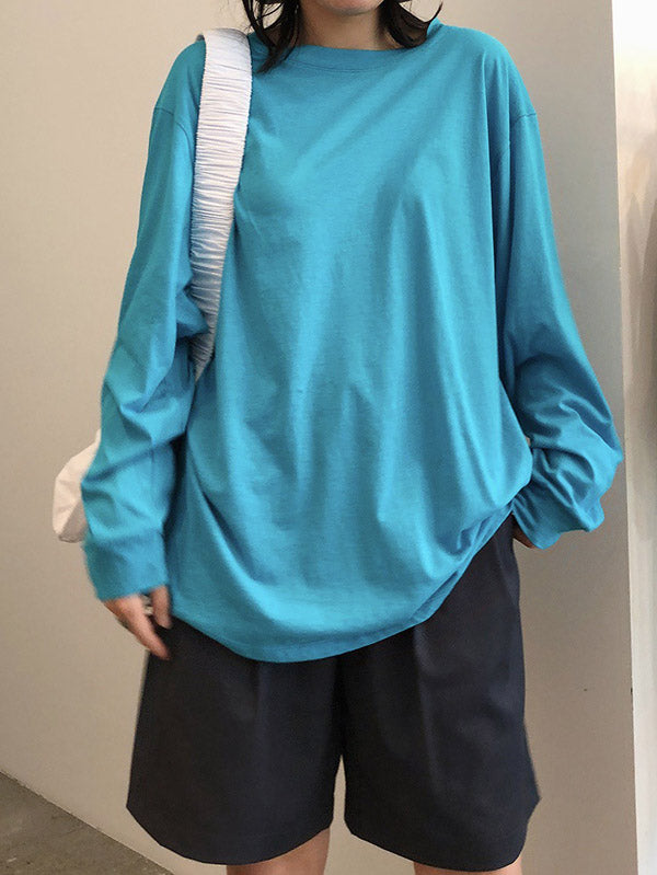 Loose Solid Color Comfortable Long Sleeve Shirt
