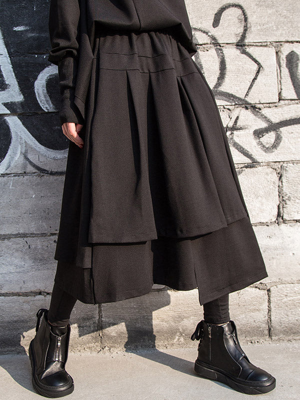 Black Cropped Pleated A-Line Skirt