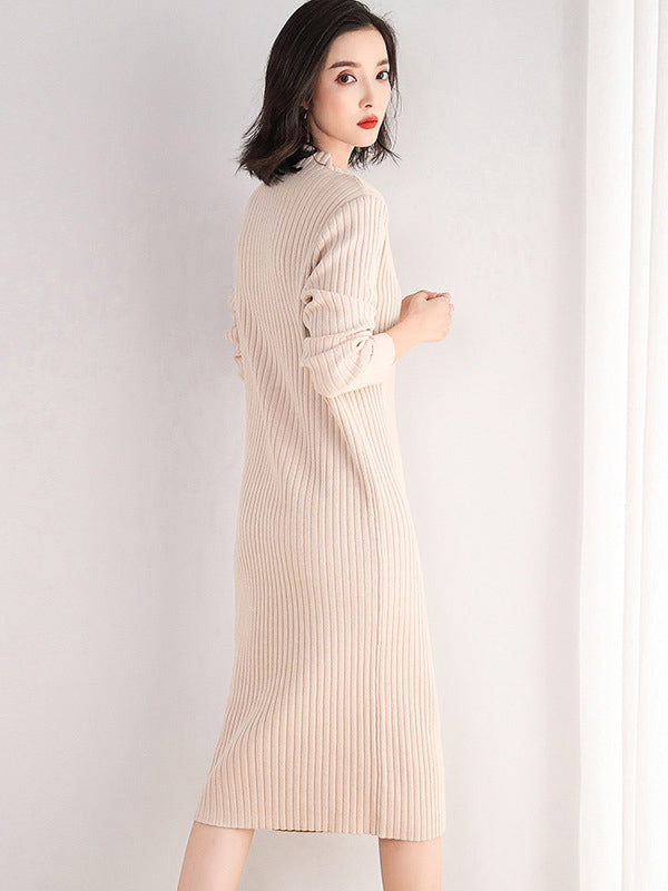 Loose Solid Color Sweater Midi Dress