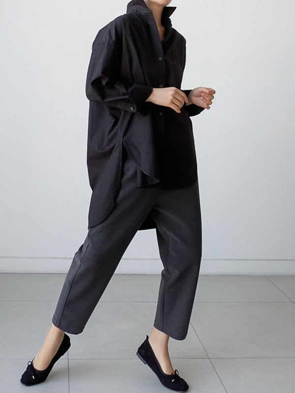 Loose Back-Designed Cropped Simple Shirt