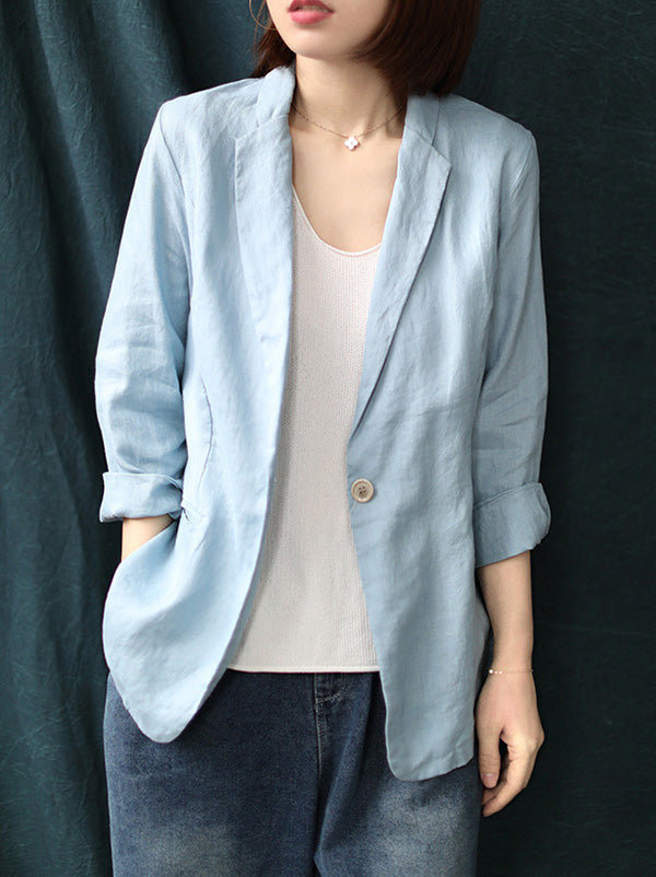 Loose Solid Color Simple Three-Quarter Sleeves Outwear