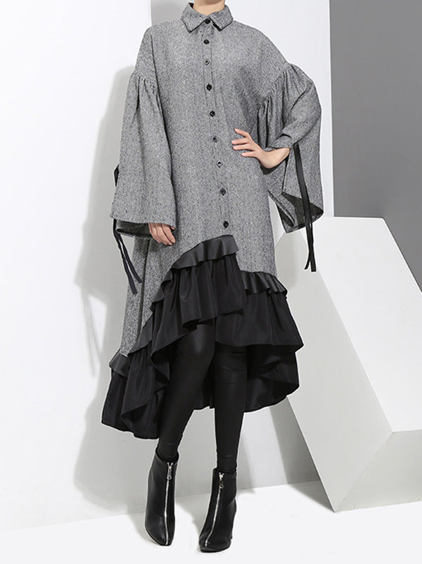 Loose Split-joint Falbala Lapel Blouse Dress