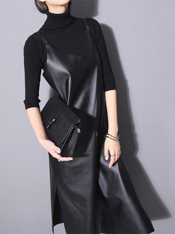 Casual PU Split-side Vest Dress