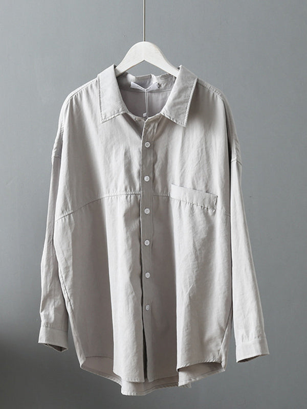 Casual Solid Split-Joint Shirt