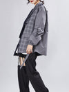 Original Vintage Plaid Split-joint Asymmetric Women Suit