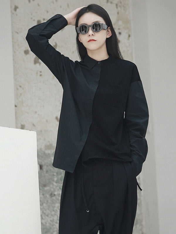 Simple Black Cotton Split-joint Asymmetric Blouse