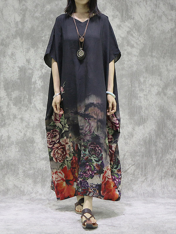 Vintage Floral Batwing Sleeve Round Neck Dress