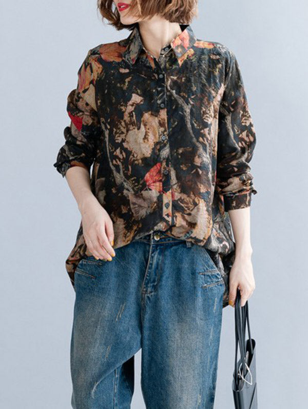 Vintage Loose Flower Print Shirt