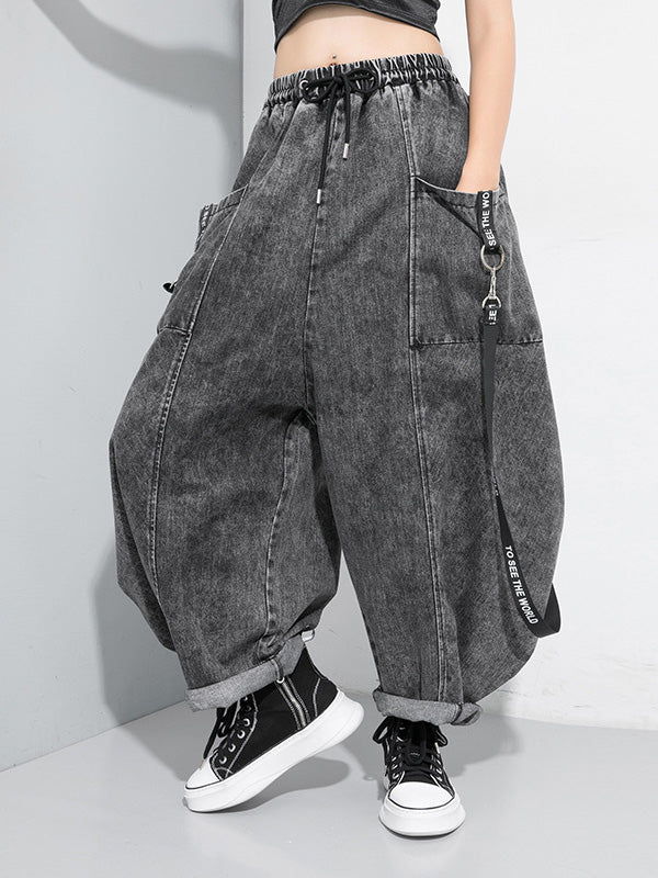 Loose Stitching Ribbed Jean Wide Leg Pants