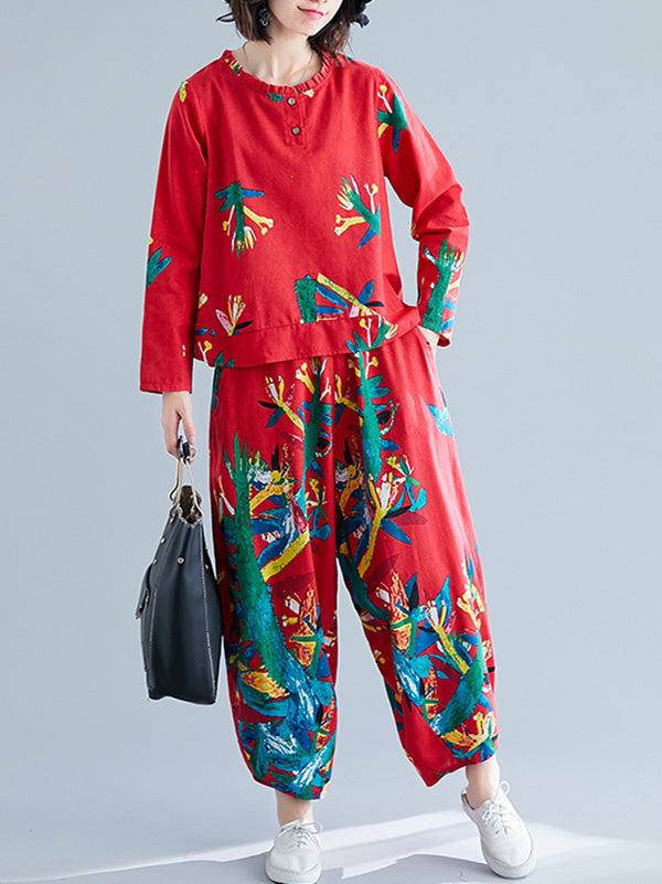 Casual Floral Printed Blouses&Pants Suits