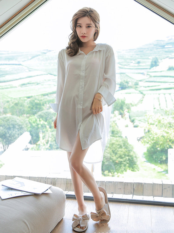 Loose Solid Color Comfortable Backless Pajamas