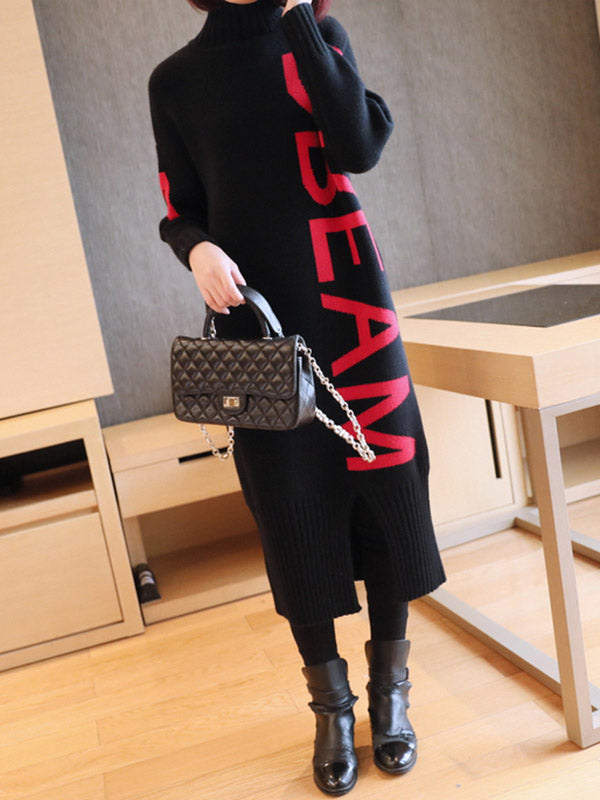 Letter Printed High Neck Sweater Dress