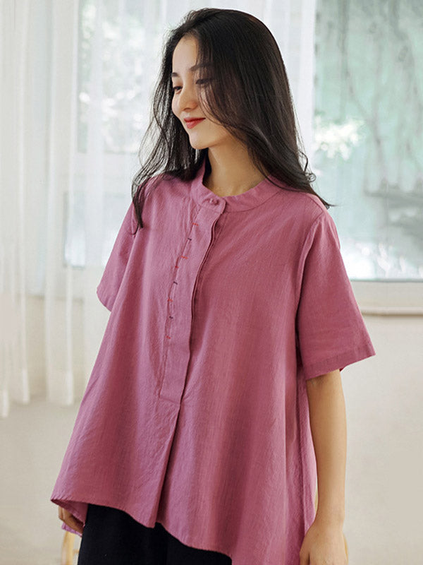 Loose Solid Color High-Low Casual T-Shirt