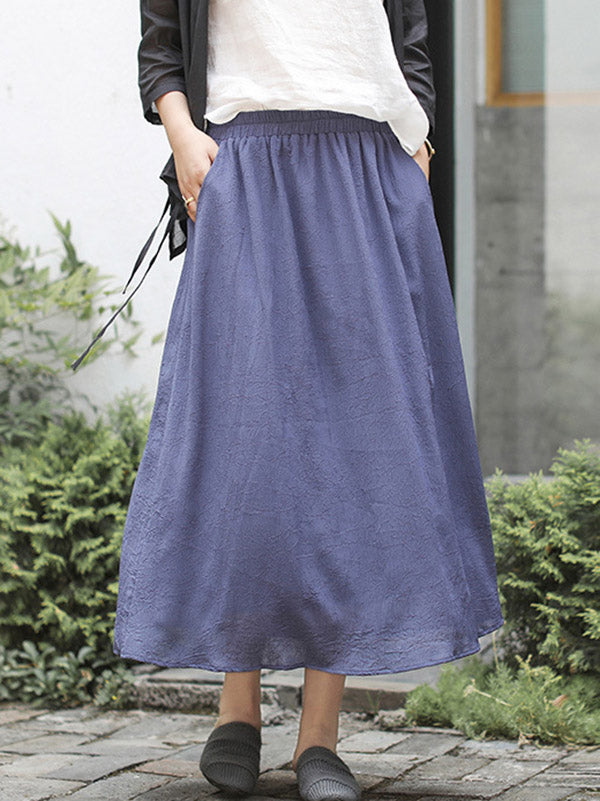 Casual Simple Solid Color Retro Skirts