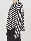 Asymmetric Striped Round-Neck T-Shirt Top