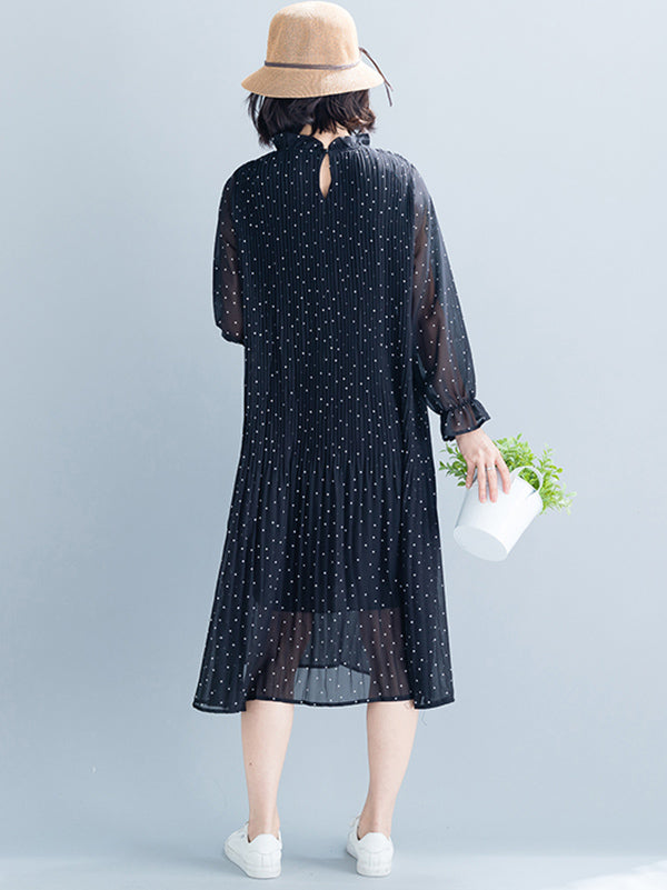 Casual Polka-dot Ruffled Long Dress