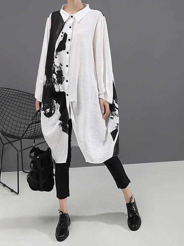 Loose Printed Lapel Mid-Length Shirt