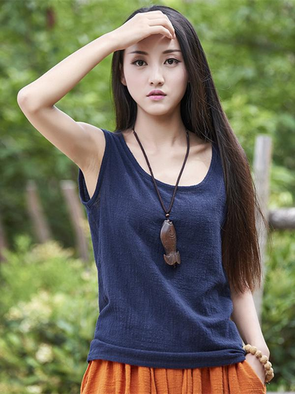 Soft Solid Color Sleeveless Ramie Cotton T-shirt