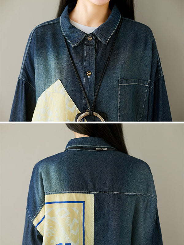 Loose Cropped Split-joint Jeans Shirt