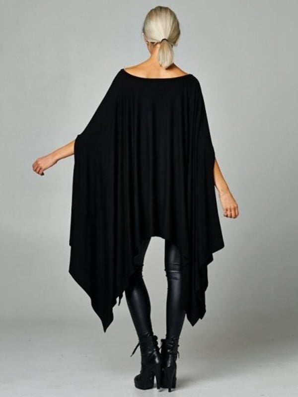 Black Plus Size Batwing Sleeves Asymmetric Round-Neck Shirt