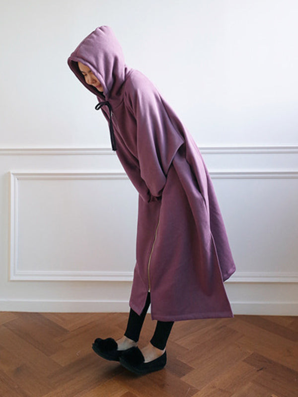 Loose Warm Long Hooded Outwear