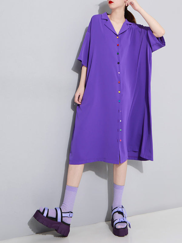 Solid Color Loose Lapel Short Sleeves Dress