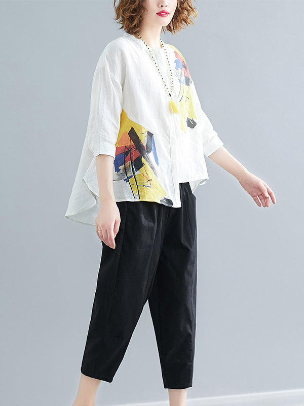 Printed Shirt + Solid Wide Leg Pants