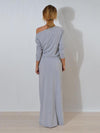 Soft Solid Belted Long Sleeves Maxi Dress