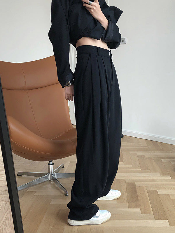Solid Color Loose Empire Wide Leg Pants