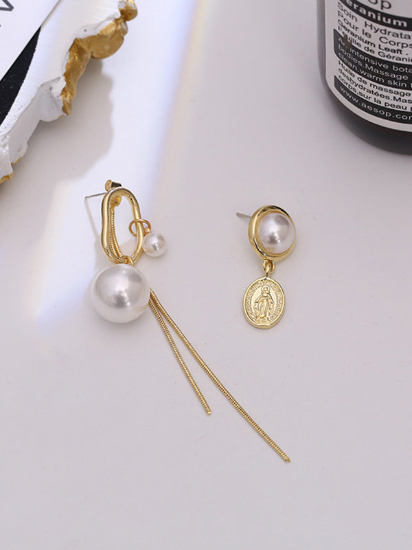 Fashion Asymmetric Alloy Tasseled Earrings