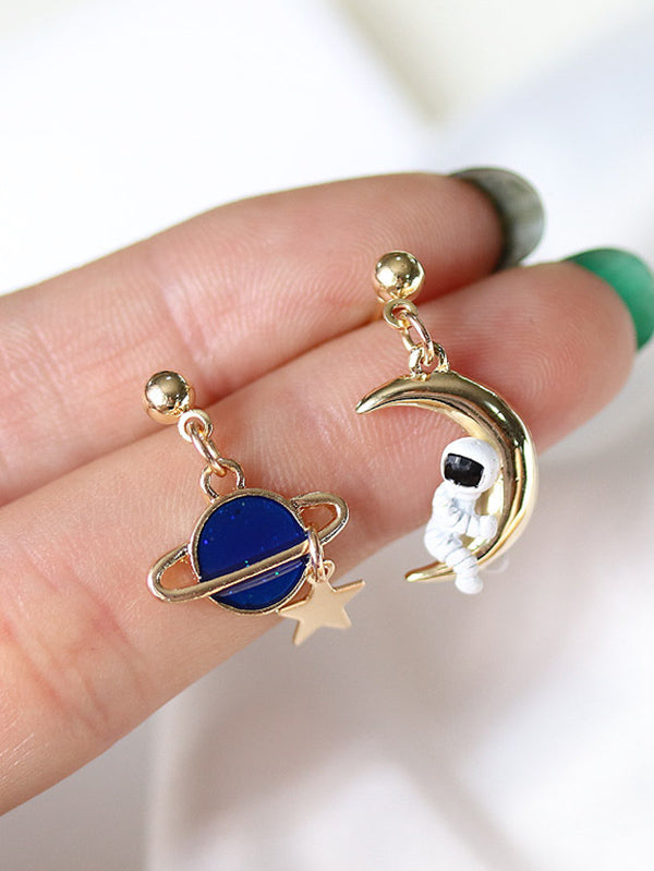 Asymmetric Spaceman Earth Earrings