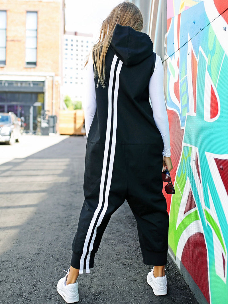 Fashion Zipper Hooded Jumpsuits