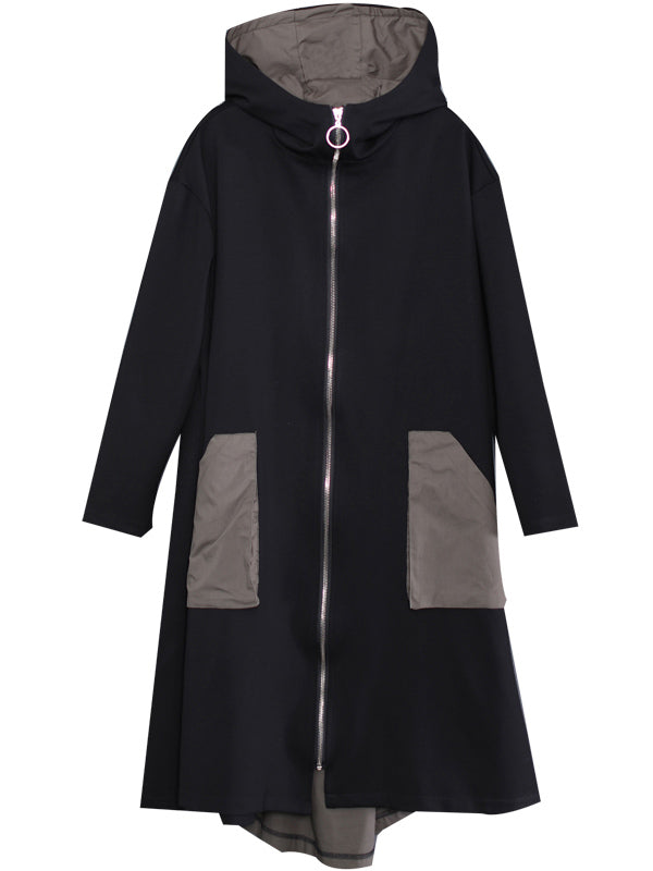 Loose Color Matching A-Line Hooded Windbreaker Coat