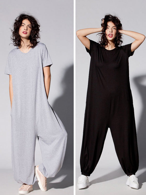 Gray&Black Simple  Low-Slung Crotch Jumpsuits