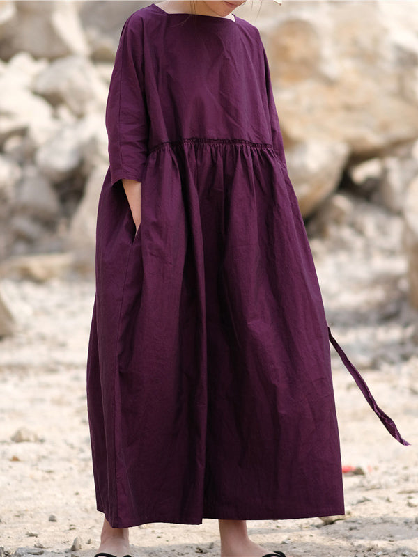 Casual Literary Square-cut Collar Long Dress
